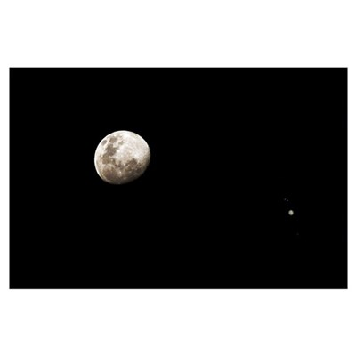 Earth's moon and Jupiter separated by six degrees Poster