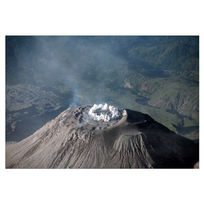 Eruption at summit of Santiaguito dome complex, Sa Framed Print