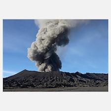 Eruption of ash cloud from Mount Bromo volcano, Te