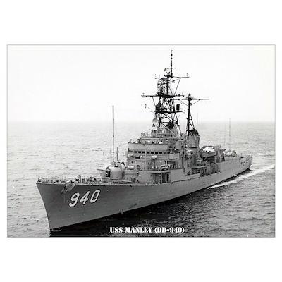 USS MANLEY Wall Art Poster