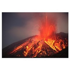 Explosive Vulcanian eruption of lava on Sakurajima Framed Print