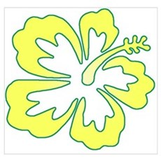 Surf Flowers (Yellow and Gree Wall Art Poster