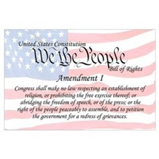 Amendment I and Flag Wall Art Poster