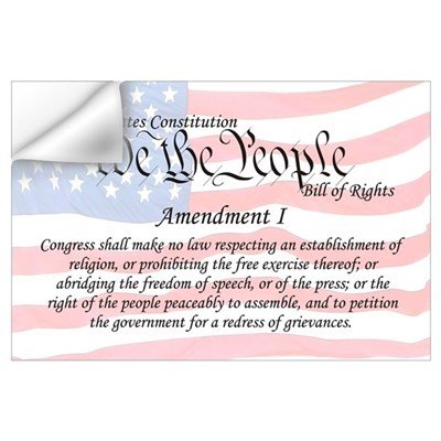 Amendment I and Flag Wall Art Wall Decal