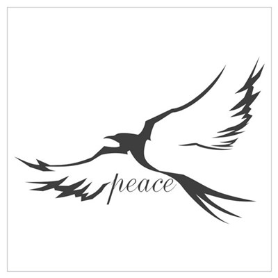 Winged Peace Charcoal Wall Art Canvas Art