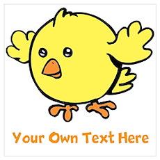 Cute Bird. Orange Text Wall Art Poster
