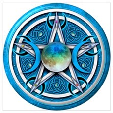 Blue Triple Goddess Pentacle Wall Art Poster