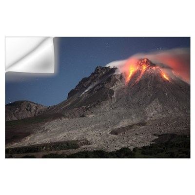 Glowing lava dome during eruption of Soufriere Hil Wall Decal