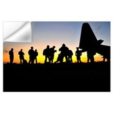 Green Berets prepare to board a KC-130 aircraft Wall Decal