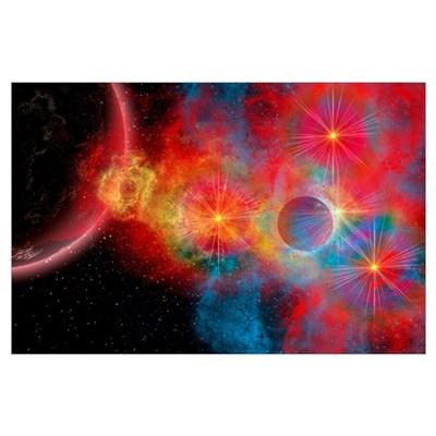The remains of a supernova give birth to new stars Poster