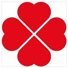 Red Heart Love Clover Symbol Wall Art Poster