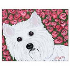 """""""Westie in Roses"""" Wall Art Poster"""