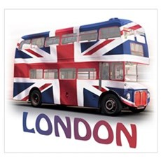 London Bus with Union Jack an Wall Art Framed Print