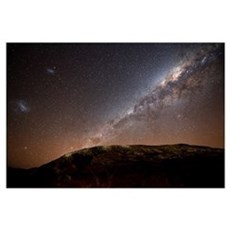 The Milky Way rising above the hills of Azul, Arge Framed Print