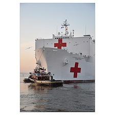 The hospital ship USNS Comfort departs for deploym