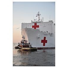 The hospital ship USNS Comfort departs for deploym Poster