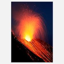 Strombolian eruption of Stromboli volcano, Aeolian