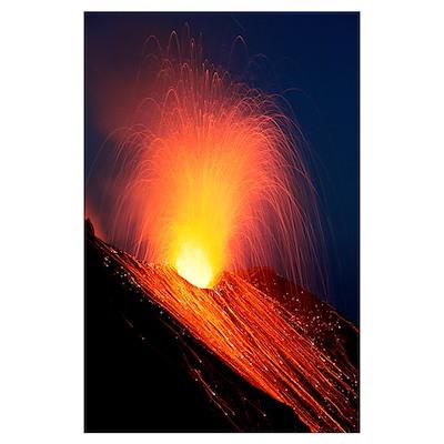 Strombolian eruption of Stromboli volcano, Aeolian Poster