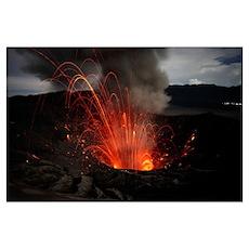 Strombolian eruption of Mount Bromo volcano, Tengg Poster