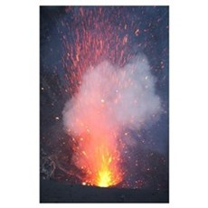 Strombolian eruption from vent in summit crater, Y Poster