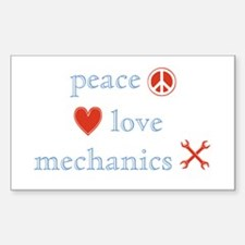 Peace, Love and Mechanics Sticker (Rectangle)