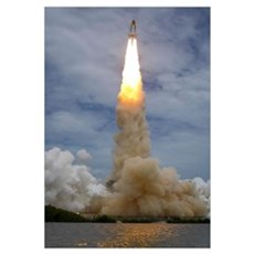 Space shuttle Atlantis lifts off from the Kennedy Poster