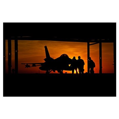 Silhouette of a Chilean Air Force F-16C Block 50 a Poster