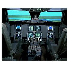 Interior view of an aircraft flight simulator Poster