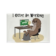 Funny Otter illustration Rectangle Magnet