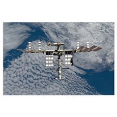 International Space Station backgropped by a blue Poster
