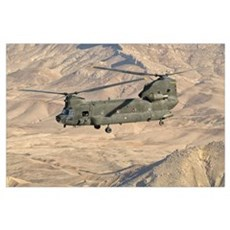 Italian Army CH-47C Chinook helicopter in flight o Poster