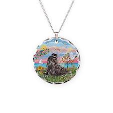 AngelStar-Blk-ShihTzu Necklace Circle Charm