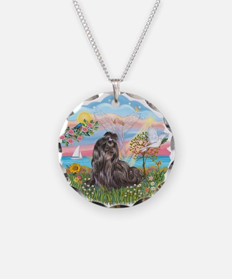 AngelStar-Blk-ShihTzu Necklace Circle Charm