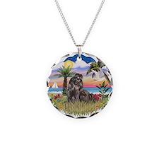 Palms - Black Shih Tzu Necklace Circle Charm