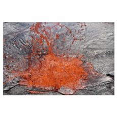 Lava bubble bursting through crust of active lava  Poster