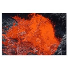 Lava bursting at edge of active lava lake, Erta Al Poster