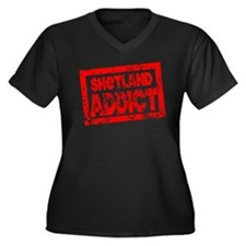 Shetland ADDICT Women's Plus Size V-Neck Dark T-Sh