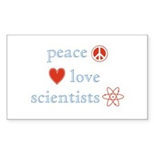 Peace, Love and Scientists Decal