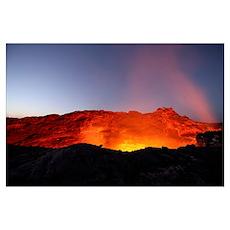 Lava lake illuminating walls of pit crater at nigh Poster