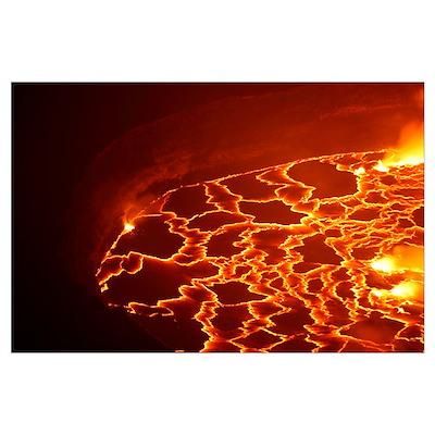 Lava lake in summit caldera, Nyiragongo Volcano, D Poster