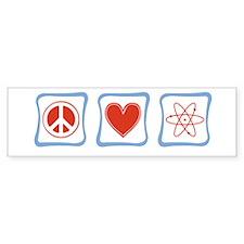 Peace, Love and Scientists Bumper Sticker