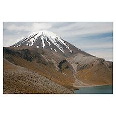 Ngauruhoe cone and Upper Tama Lake, Tongariro volc Poster