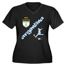 Argentina Soccer Women's Plus Size V-Neck Dark T-S