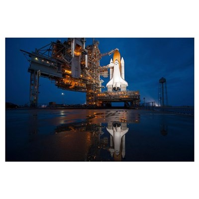 Night view of space shuttle Atlantis on the launch Poster