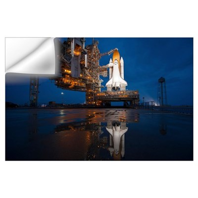 Night view of space shuttle Atlantis on the launch Wall Decal