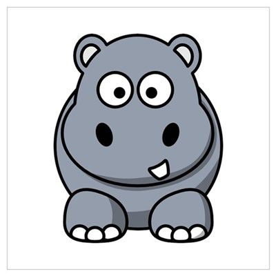 Cartoon Hippopotamus Wall Art Poster