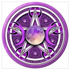 Purple Triple Goddess Pentacle Wall Art Poster