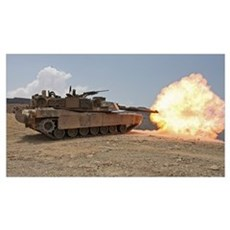 Marines bombard through a live fire range using M1 Poster