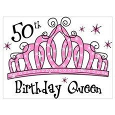 Tiara 50th Birthday Queen Wall Art Poster