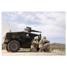 Marines fire a BGM-71 TOW missile Framed Print
